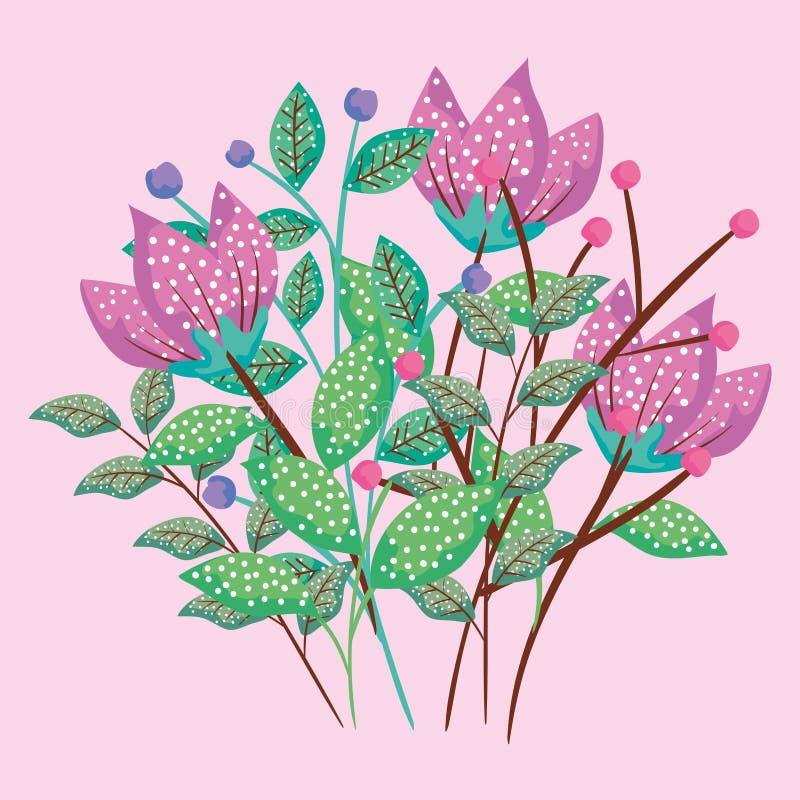 Les usines tropicales de fleurs avec des feuilles conçoivent illustration de vecteur