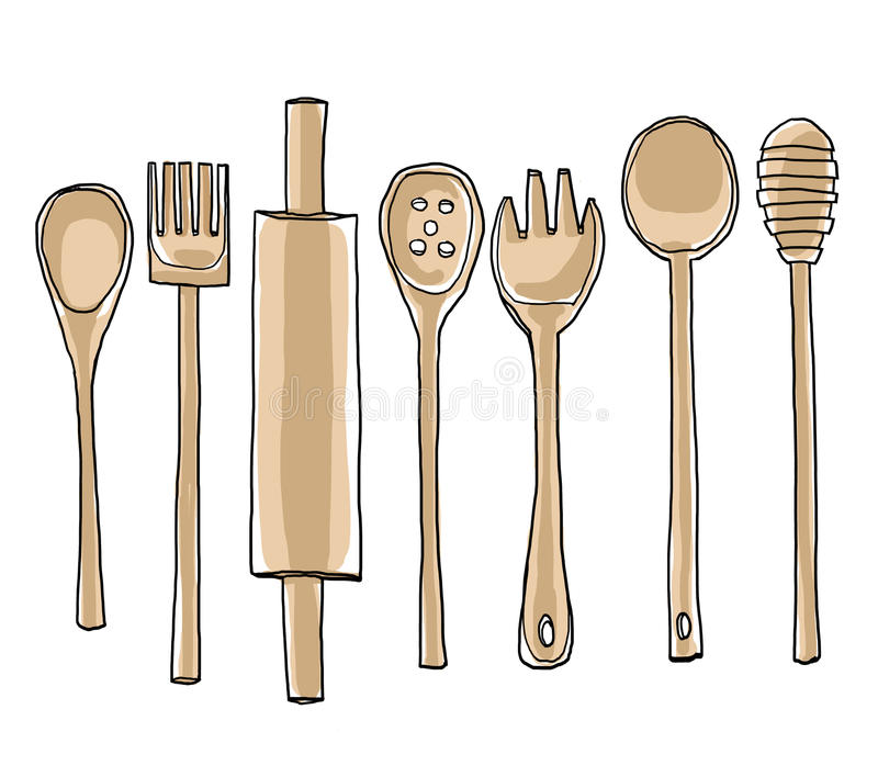 Les ustensiles en bois de cuisine ont placé de l'illustration tirée par la main d'art illustration libre de droits