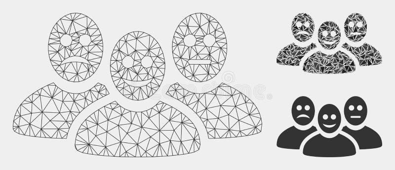 Les utilisateurs émotifs dirigent l'icône de mosaïque de Mesh Wire Frame Model et de triangle illustration de vecteur