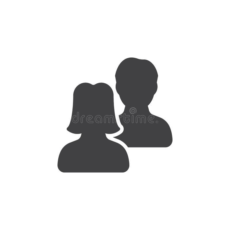 Les utilisateurs, vecteur d'icône d'amis, ont rempli signe plat, illustration libre de droits