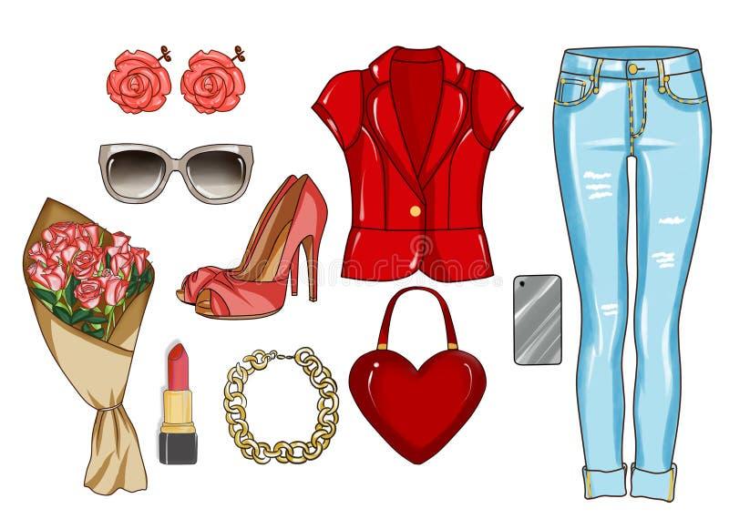 Les vêtements à la mode et à la mode et les accessoires personnels avec composent des articles illustration libre de droits