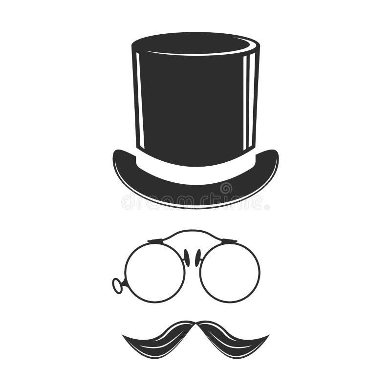 Les vêtements classiques supérieurs d'élégance de chapeau de mode de monsieur de noir d'élément moderne de chapeau dirigent l'ill illustration stock