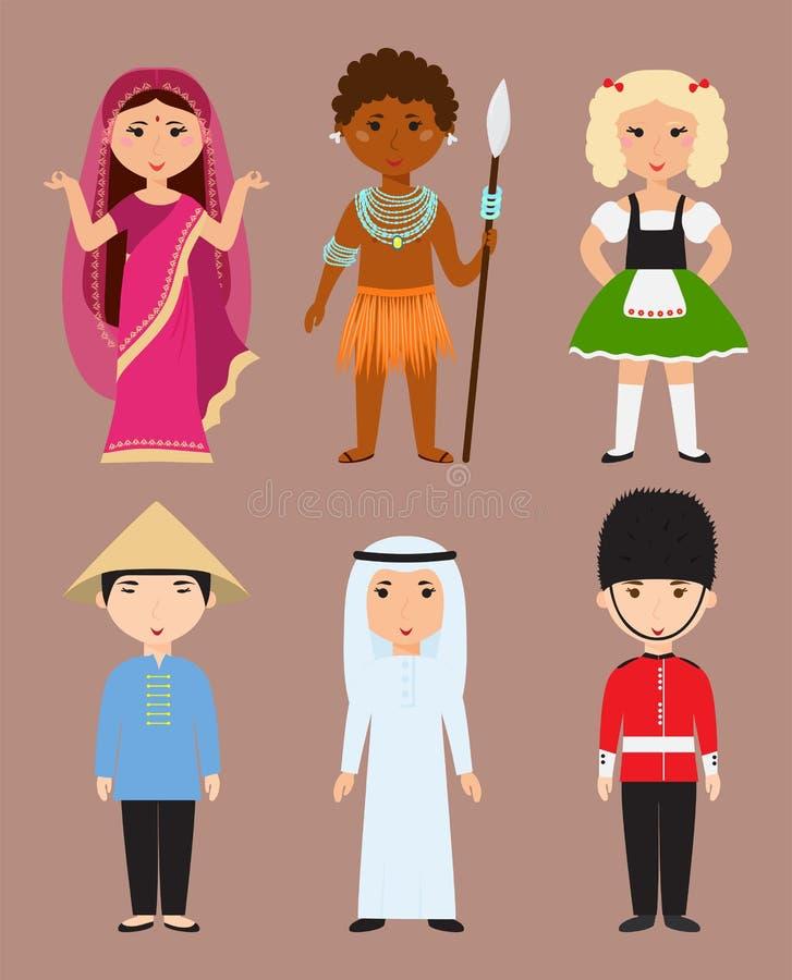 Les vêtements de nationalités de personnages de dessin animé divers d'avatars et les personnes différents de coiffures dirigent l illustration stock