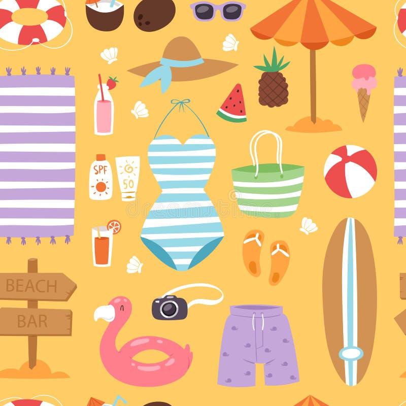 Les vêtements et les accessoires de maillot de bain de temps de mer de plage de mode d'été dirigent le fond sans couture de modèl illustration stock