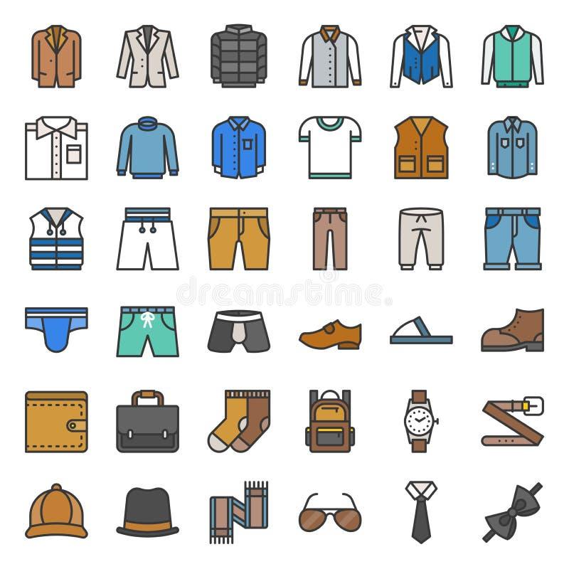Les vêtements et les accessoires masculins ont rempli icône d'ensemble ont placé 1 illustration stock