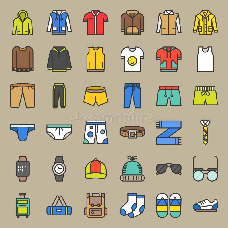Les vêtements et les accessoires masculins ont rempli icône d'ensemble ont placé 2 illustration de vecteur