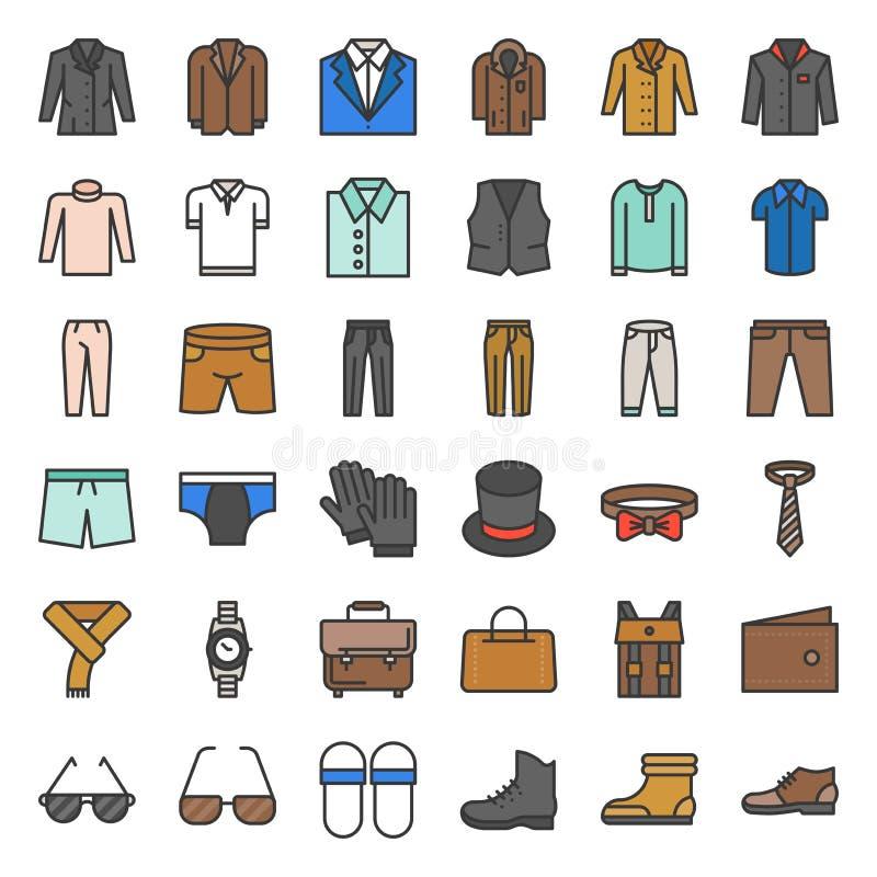 Les vêtements et les accessoires masculins ont rempli icône d'ensemble ont placé 3 illustration de vecteur