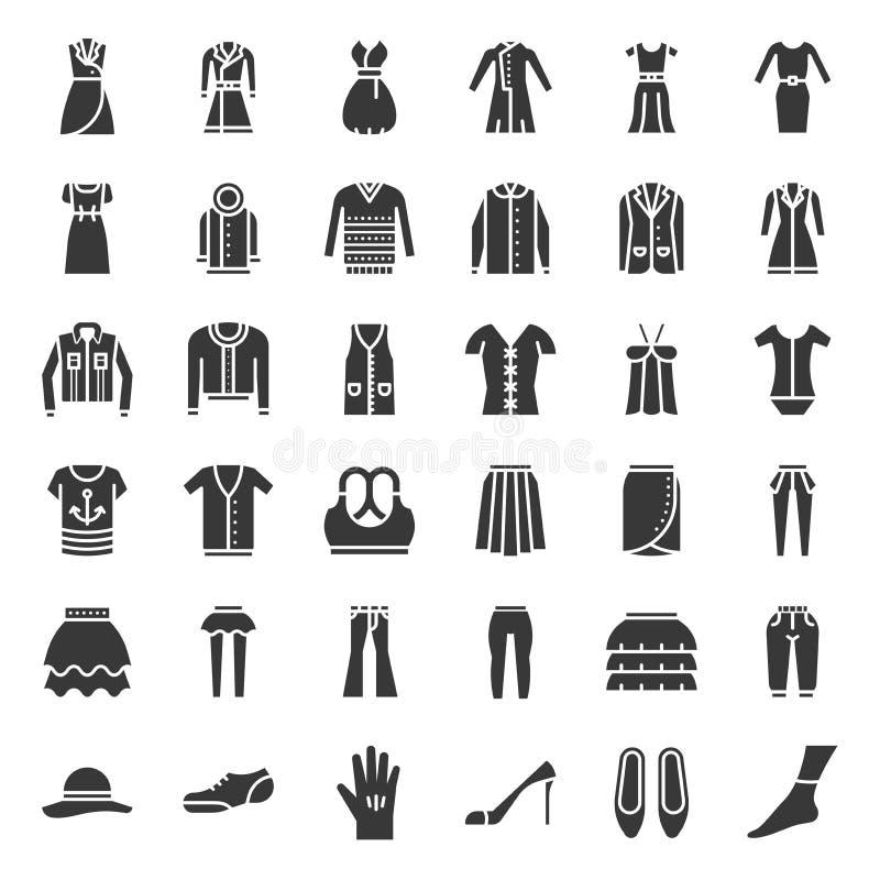 Les vêtements femelles, sac, chaussures et accessoires, icône solide ont placé 3 illustration de vecteur