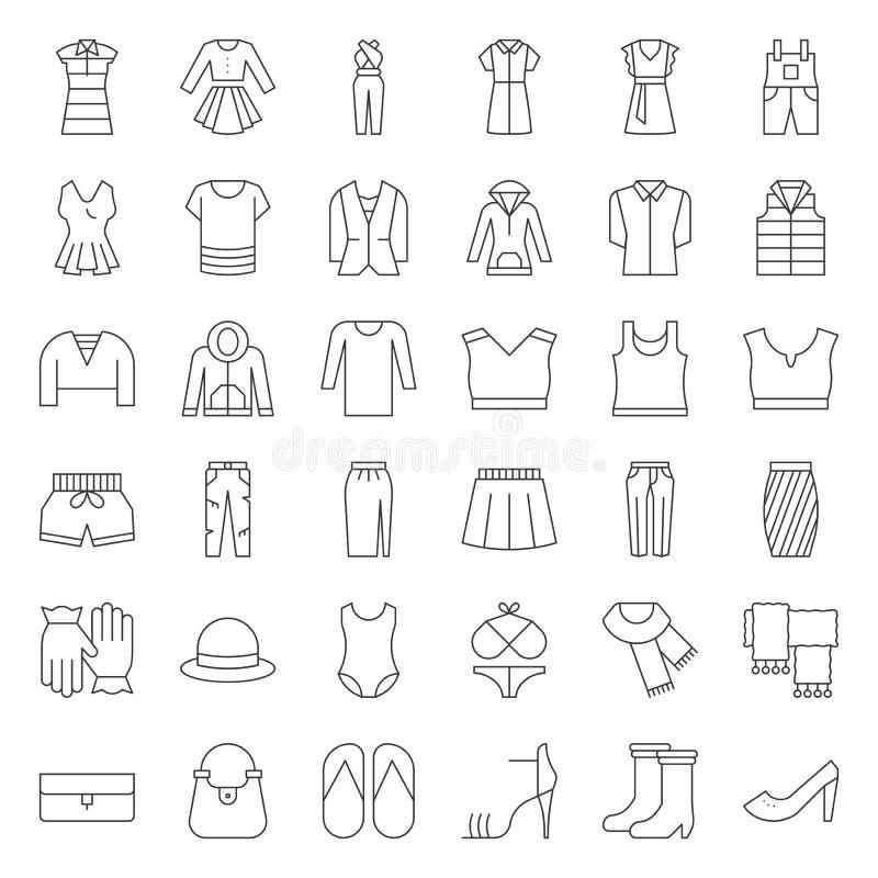 Les vêtements, le sac, les chaussures et les accessoires femelles amincissent l'ensemble d'icône d'ensemble illustration de vecteur