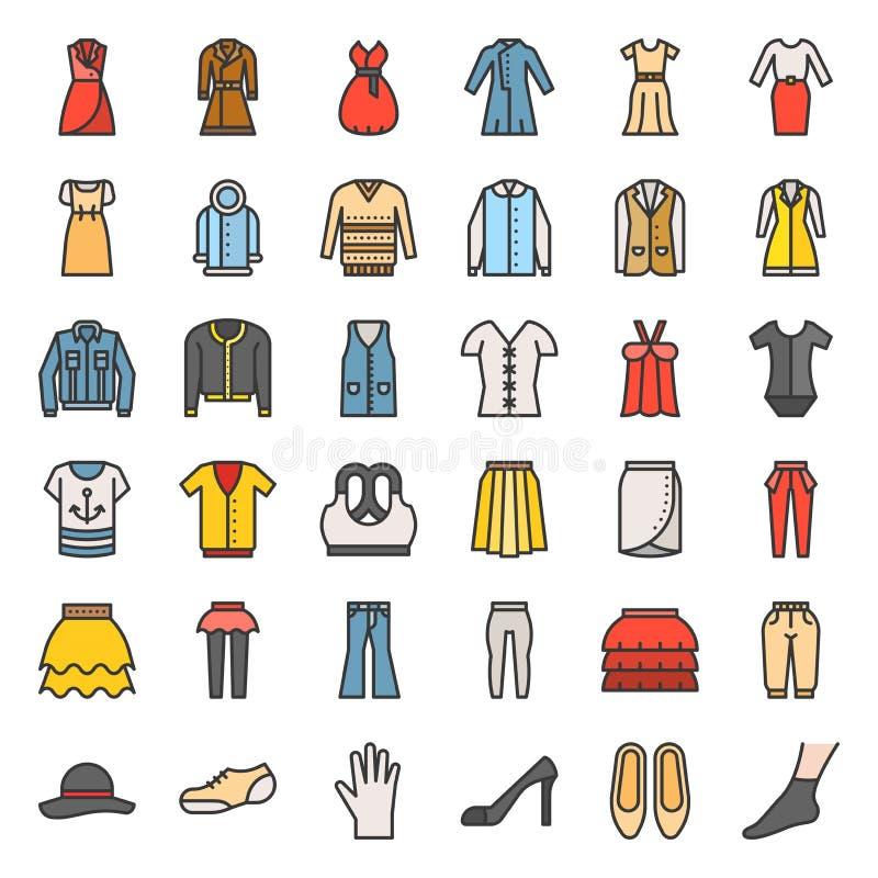 Les vêtements, le sac, les chaussures et les accessoires femelles ont rempli icône d'ensemble illustration stock