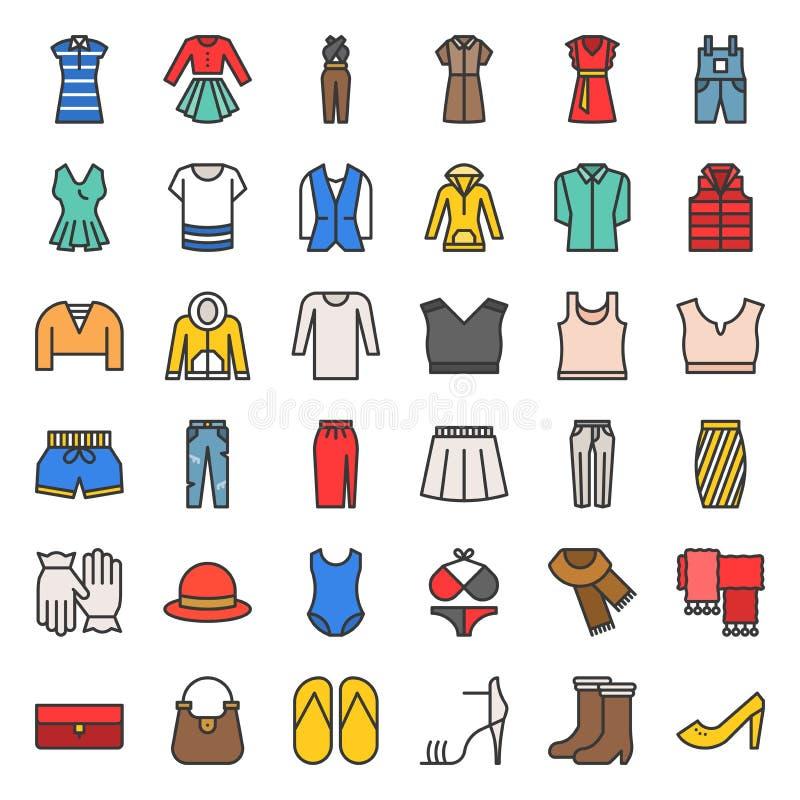 Les vêtements, le sac, les chaussures et les accessoires femelles ont rempli icône s d'ensemble illustration stock