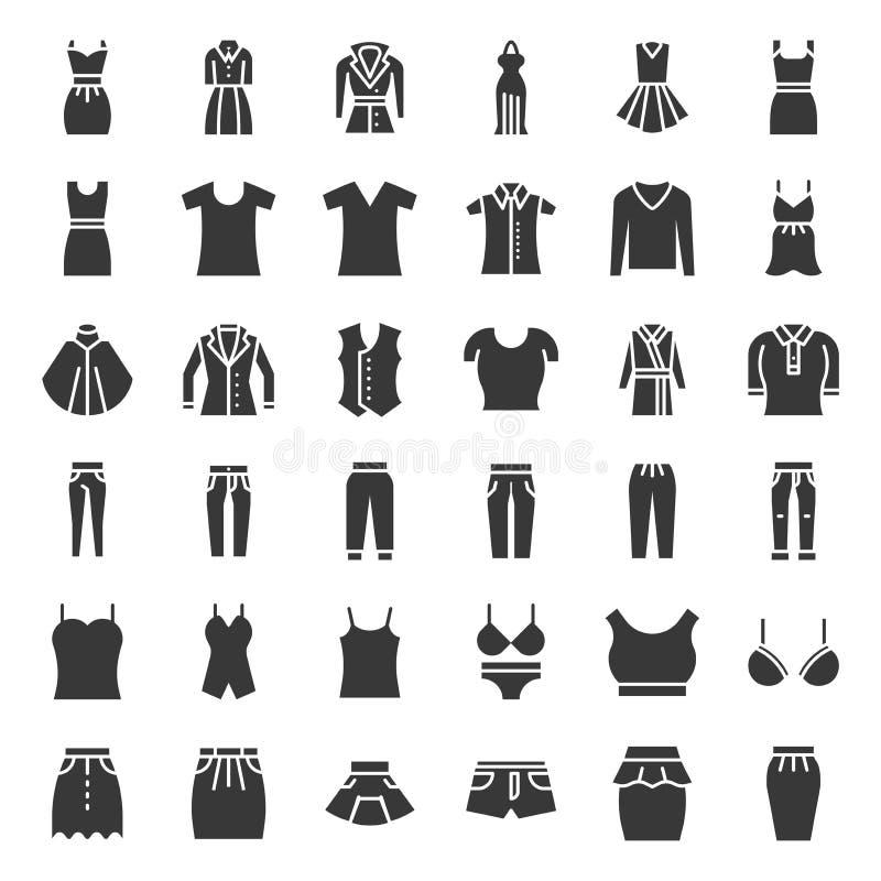 Les vêtements, les sacs et les accessoires femelles ont placé 1, icônes solides illustration libre de droits