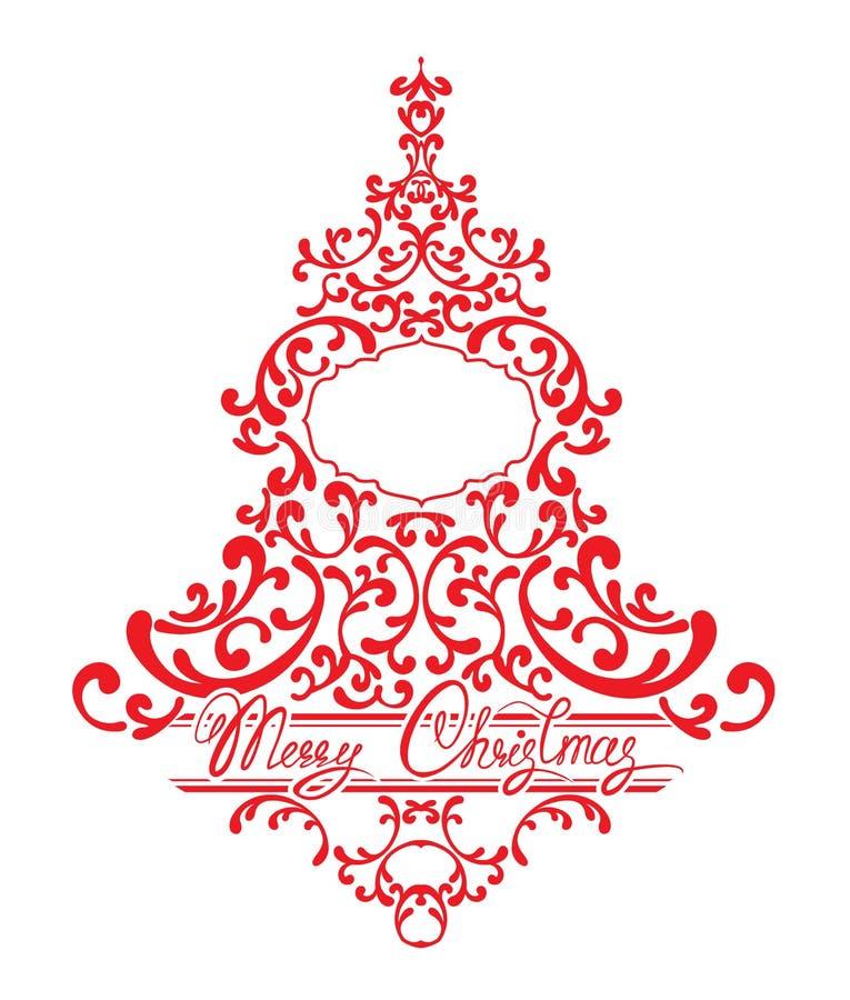 Les vacances cardent avec l'arbre de sapin abstrait de Noël - dentelle florale rouge illustration stock