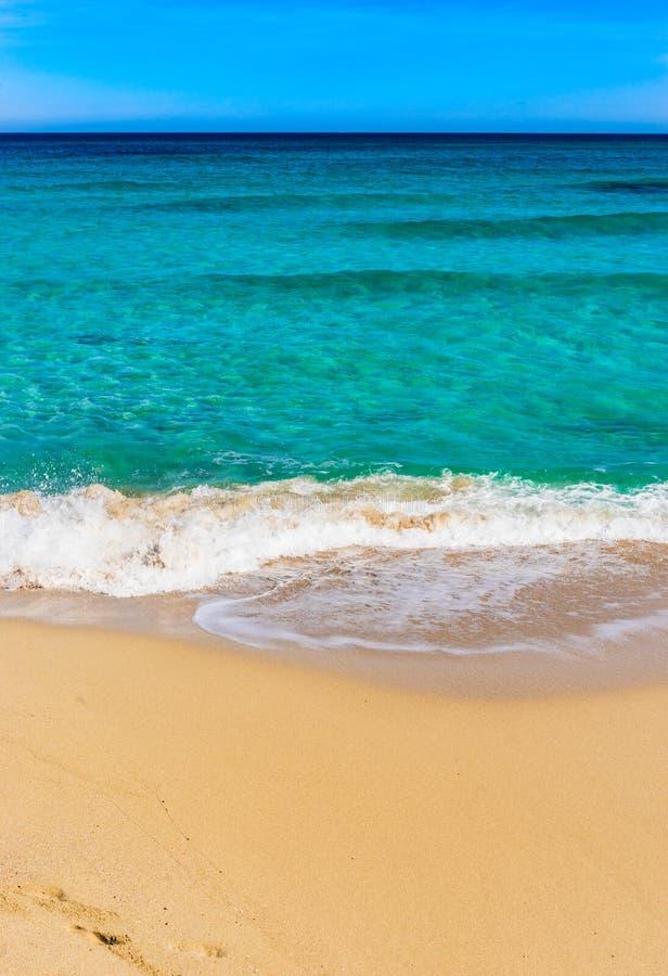 Les vacances d'été sur la belle plage de sable avec la mer bleue molle ondulent le ressac images stock