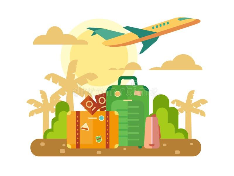 Les vacances d'été, voyagent illustration plate illustration libre de droits