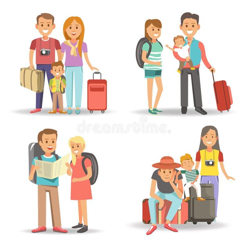 Les vacances de déplacement de tourisme de vacances d'été d'enfants de famille dirigent les icônes plates illustration stock