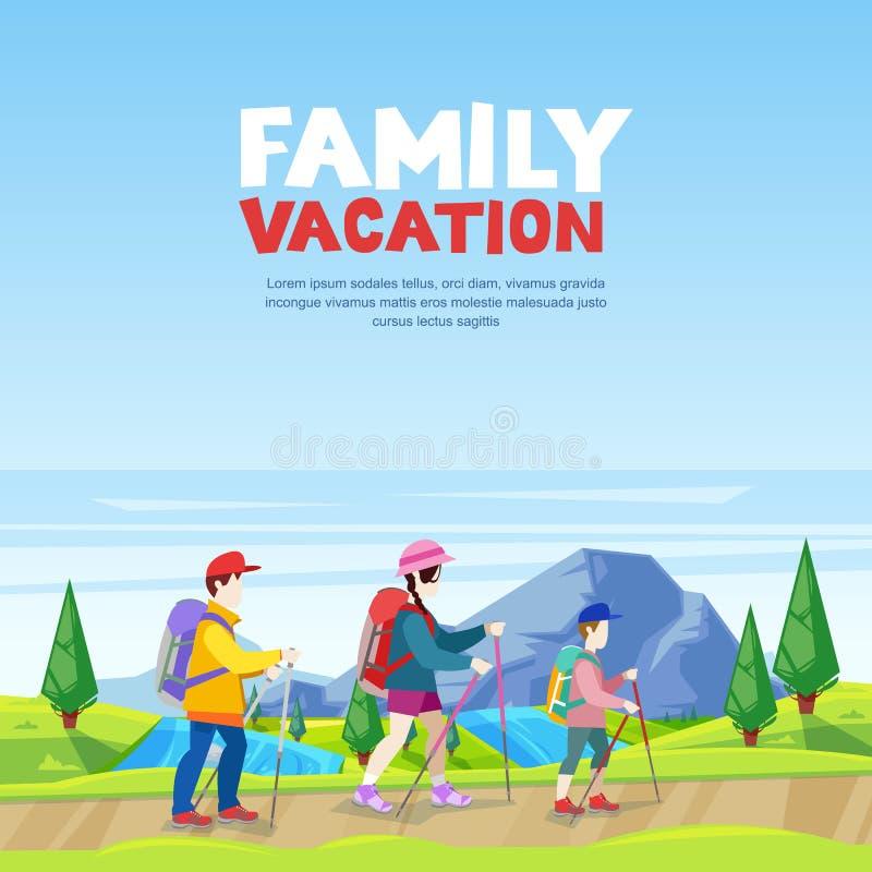 Les vacances de famille, augmentant et folâtrent dehors l'activité Maman, papa et fils marchant sur la route de montagne Illustra illustration libre de droits