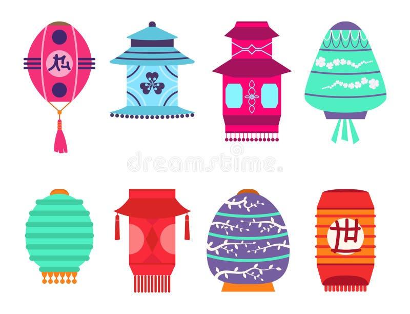 Les vacances de papier réglées de lanterne de vecteur chinois de collection célèbrent le signe chinois graphique de célébration illustration de vecteur