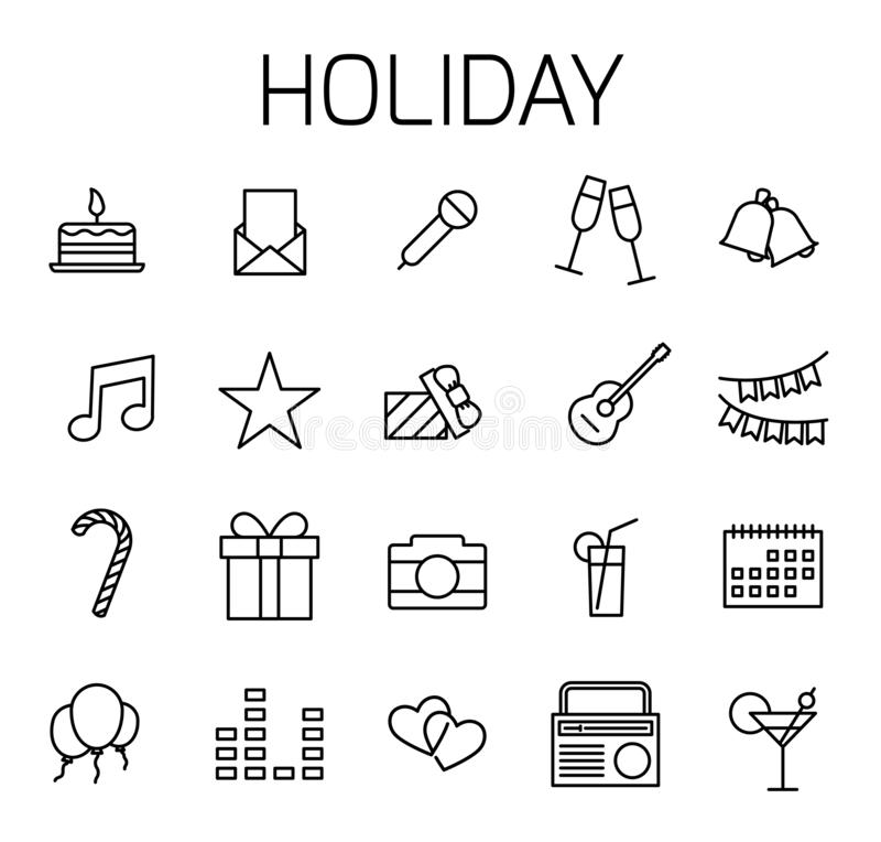 Les vacances ont rapporté l'ensemble d'icône de vecteur illustration stock