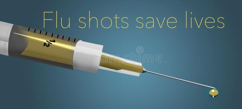 Les vaccins contre la grippe sauvent les vies illustration de vecteur