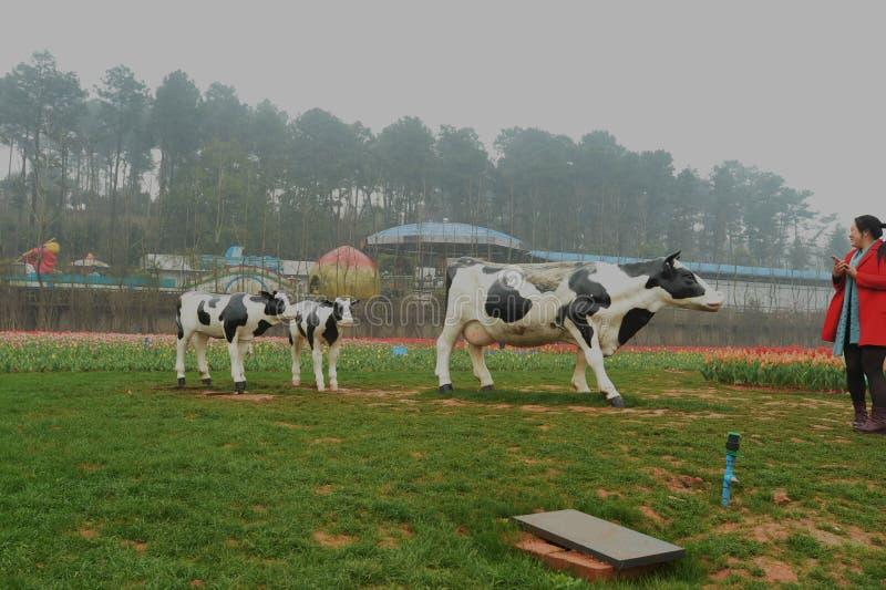 les vaches sculptent dans le jardin botanique images stock