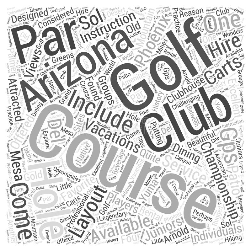 Les vactions 23 de golf de l'Arizona expriment le fond de concept de nuage illustration libre de droits