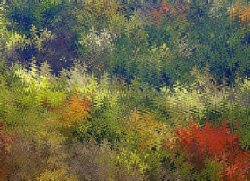 Les vagues chaotiques d'abrégé sur peinture de Digital dans différentes nuances d'arbre coloré de ressort part du fond de couleur illustration de vecteur