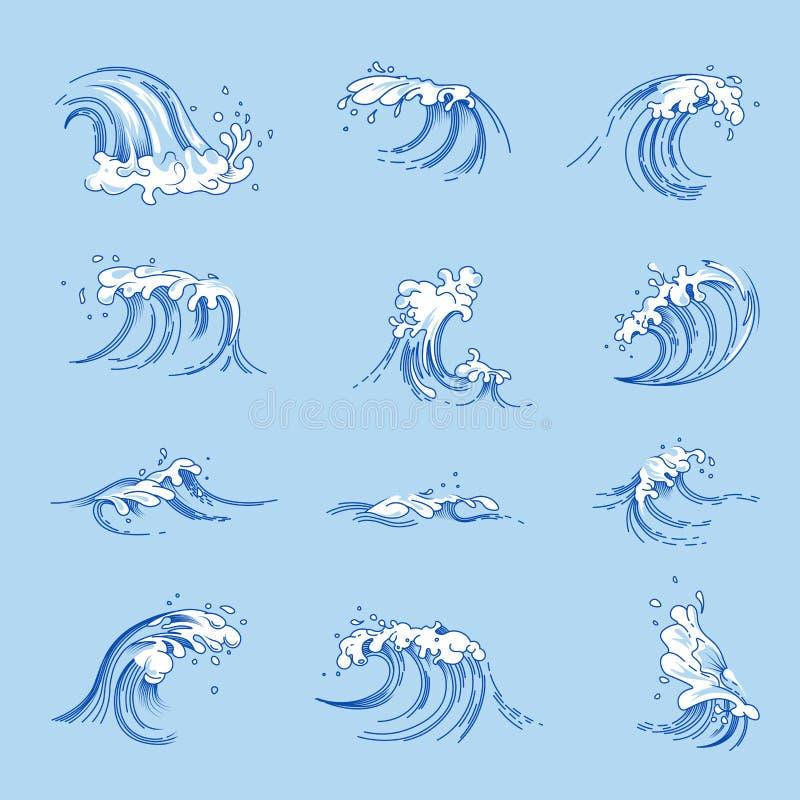 Les vagues et l'eau d'océan ou de mer éclabousse des icônes de croquis de vecteur réglées illustration de vecteur
