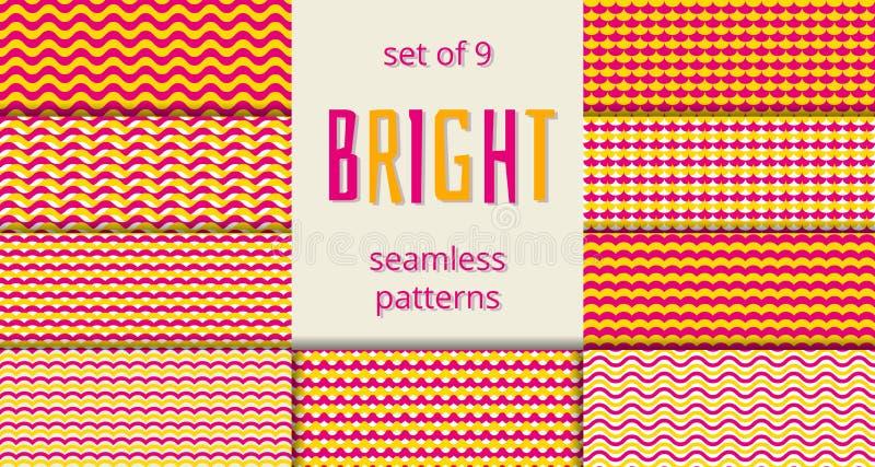 Les vagues oranges et roses lumineuses mesure les modèles sans couture réglés illustration stock