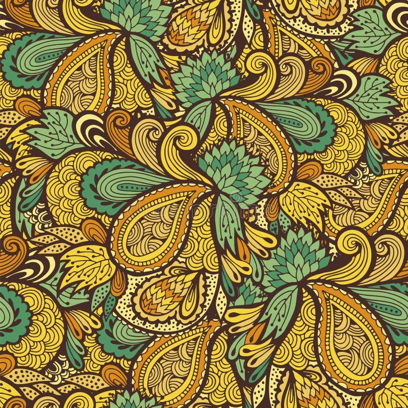 Les vagues sans couture soustraient le modèle de fleurs, conception florale illustration de vecteur