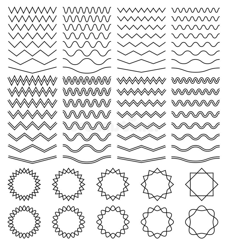 Les vagues sinueuses et le zigzag ont barré les lignes et l'ensemble déchiqueté rond de vecteur de cadres illustration stock
