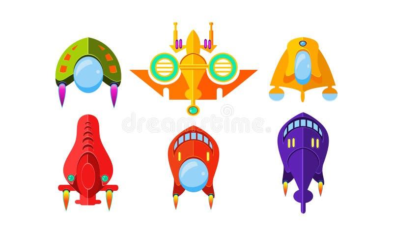 Les vaisseaux spatiaux colorés d'imagination ont placé, des avions, des avions étrangers, des éléments de conception pour le mobi illustration de vecteur