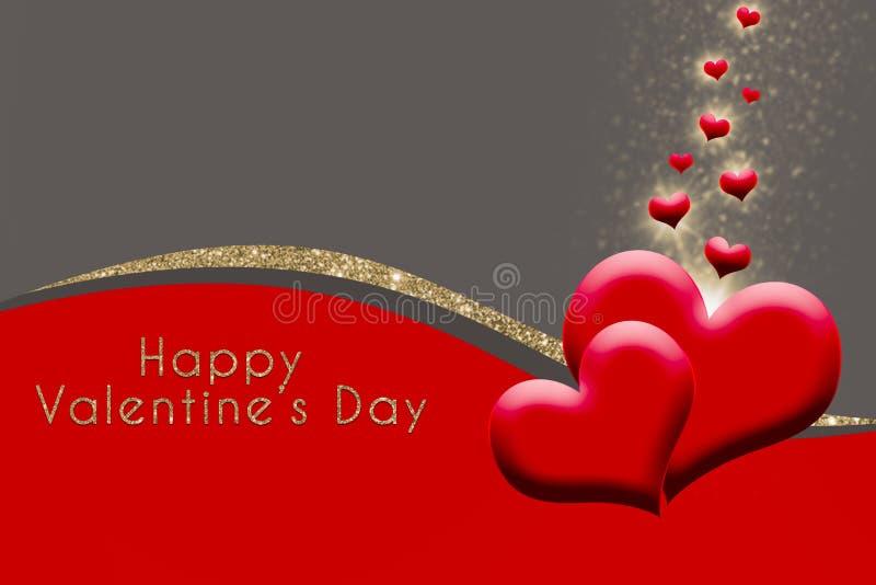 Les valentines cardent avec des coeurs sur le fond gris, rouge, d'or de scintillement illustration de vecteur