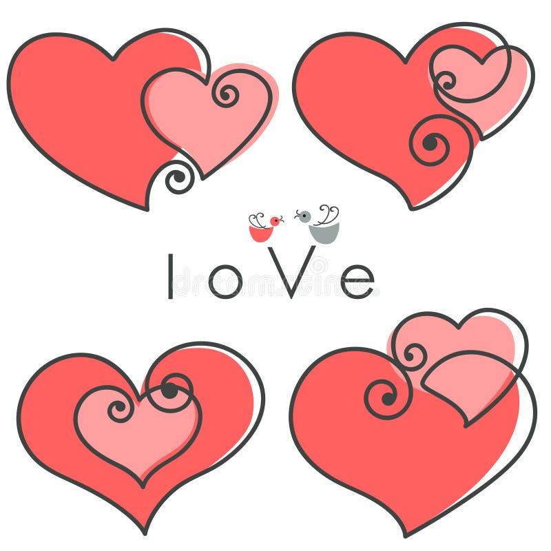 Les Valentines ont placé des coeurs illustration de vecteur