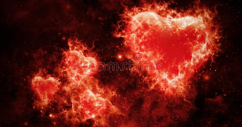 Les valentines soustraient le fond avec les coeurs colorés de brûlure du feu Carte d'amour Insecte ou impression de noce, cartes, illustration stock