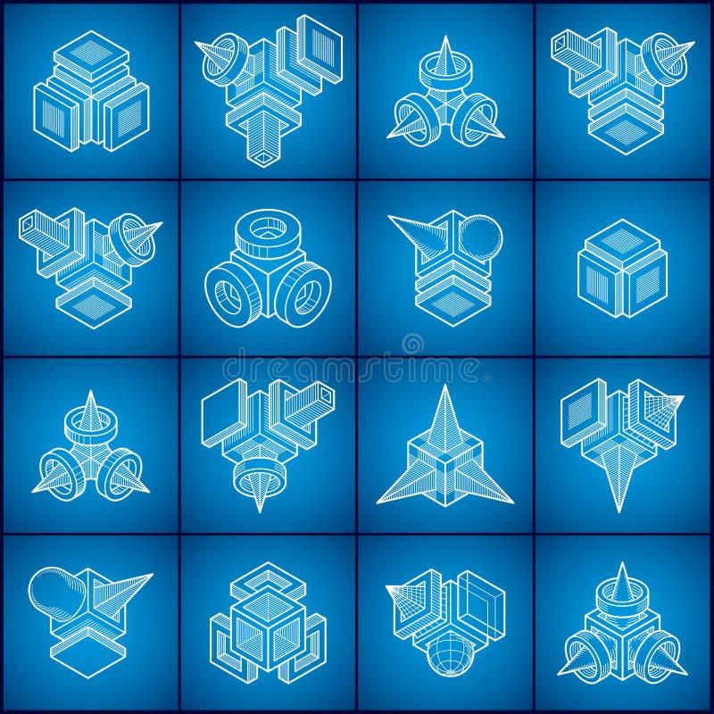 Les vecteurs abstraits ont placé, collection dimensionnelle isométrique de formes illustration libre de droits