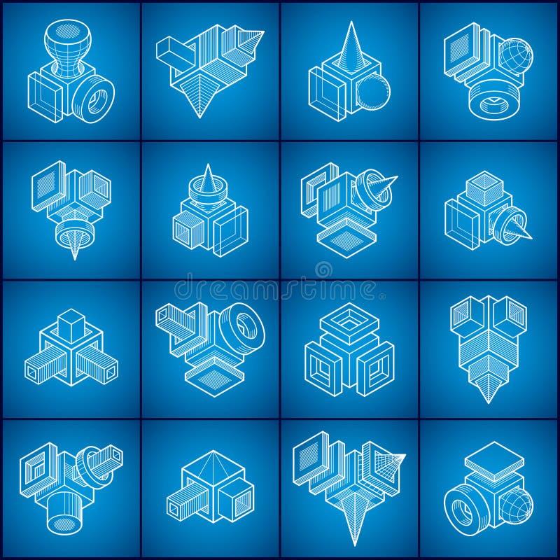 Les vecteurs abstraits ont placé, collection dimensionnelle isométrique de formes illustration stock