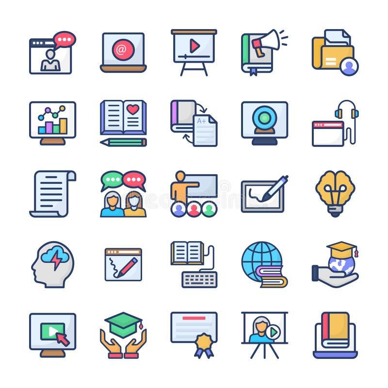 Les vecteurs plats de étude en ligne emballent illustration stock