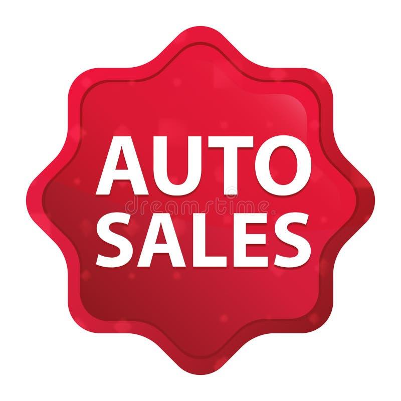 Les ventes automatiques brumeuses ont monté bouton rouge d'autocollant de starburst illustration stock