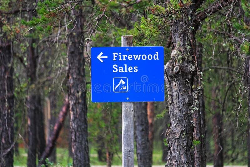 Les ventes bleues d'un bois de chauffage signent avec une flèche directionnelle photographie stock libre de droits