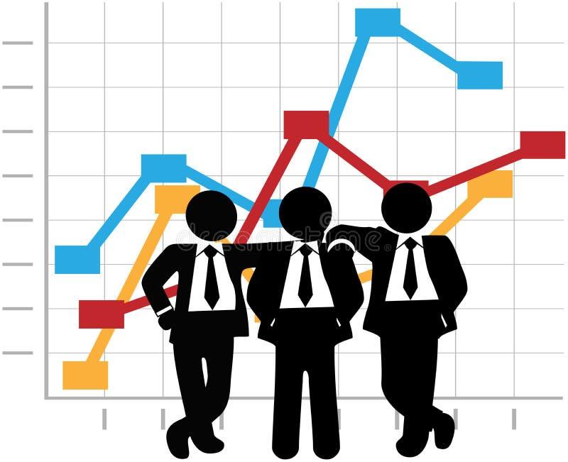 Les ventes d'hommes d'affaires Team le diagramme de graphique d'accroissement de bénéfice illustration stock