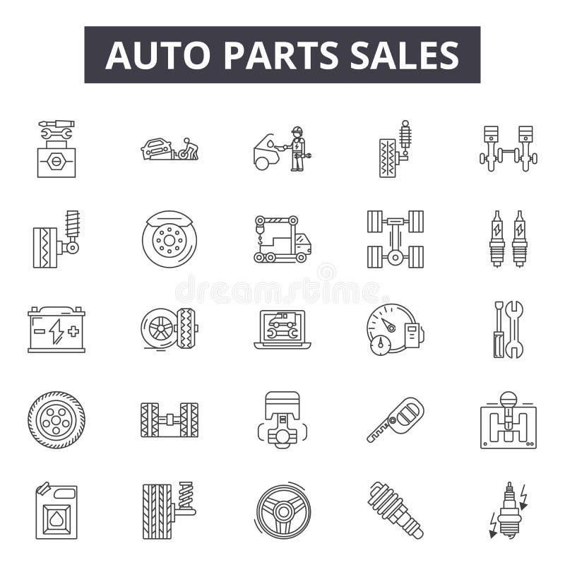 Les ventes de pièces d'auto rayent des icônes, signes, ensemble de vecteur, concept d'illustration d'ensemble illustration libre de droits