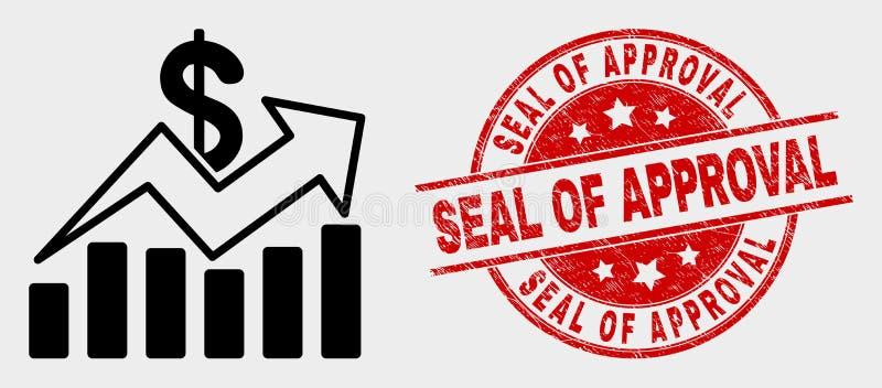 Les ventes de vecteur tendent l'icône de diagrammes et le joint rayé de label illustration de vecteur