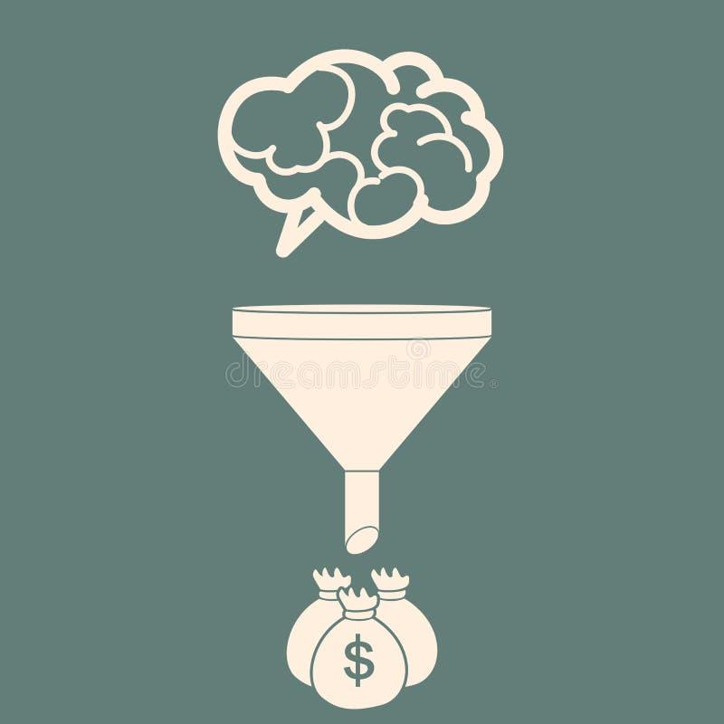 Les ventes dirigent convertir des cerveaux en argent Style plat Vecteur IL illustration stock