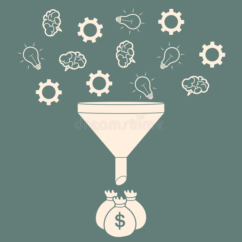Les ventes dirigent convertir des idées en concept plat de style d'argent Vec illustration libre de droits