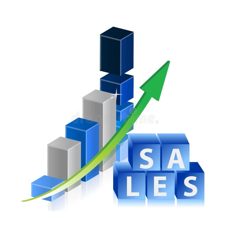Les ventes lèvent le graphique de gestion avec la flèche et les cubes illustration de vecteur