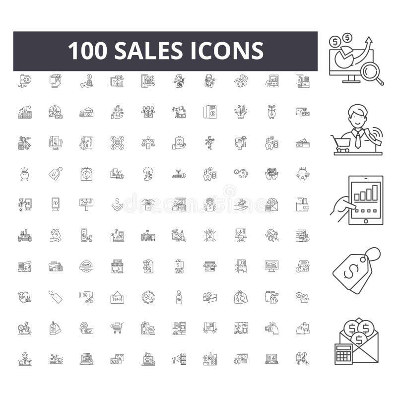 Les ventes rayent des ic?nes, signes, ensemble de vecteur, concept d'illustration d'ensemble illustration stock