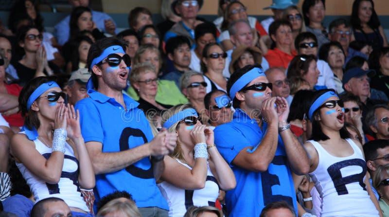 Les ventilateurs de Roger Federer photos libres de droits