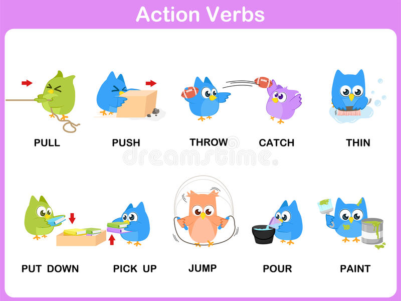 Les verbes d'action décrivent le dictionnaire (activité) pour des enfants illustration libre de droits