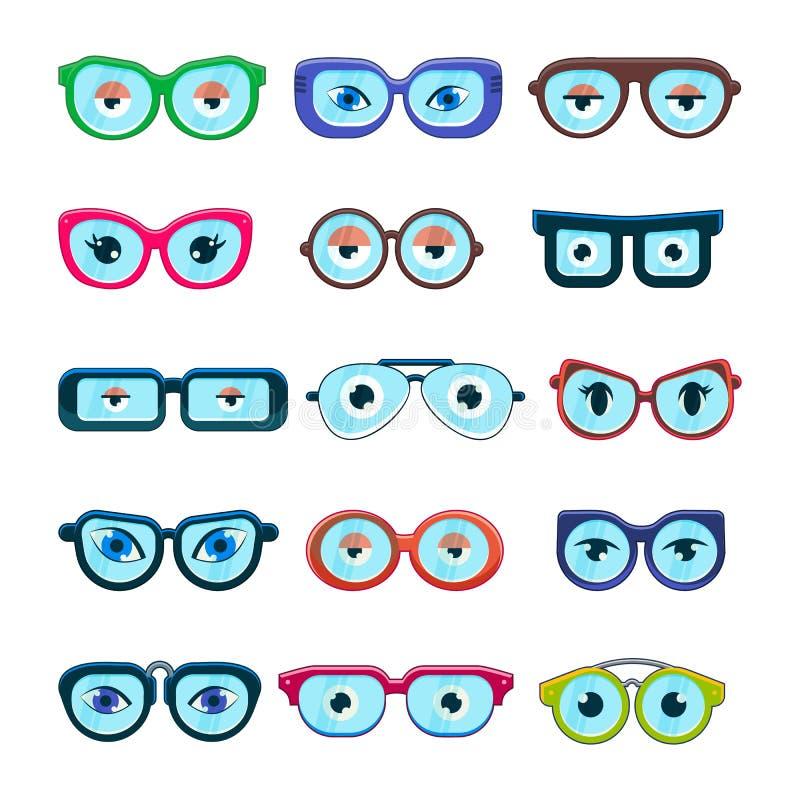 Les verres avec des yeux dirigent le cadre de monocle de bande dessinée ou les lunettes de soleil dans les formes et les accessoi illustration de vecteur